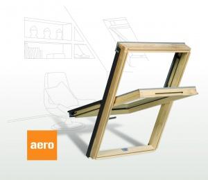 Dřevěné střešní okno s větrací klapkou AERO