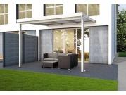 Hliníková pergola Terrassendach Premium - čirý polykarbonát s bílými pruhy / bílá konstrukce